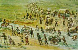 William Henry Jackson painting of emigrants crossing stream with hand carts and covered wagons