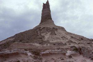 tall geologic sandstone rock formation known as Chimney Rock, Nebraska