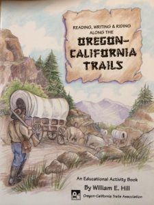 book cover with text Reading, Writing and Riding Along the Oregon-California Trails