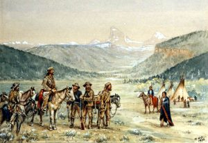 painting of group of mountain men standing with plains Indian men in a mountain landscape
