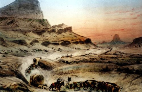 painting by William Henry Jackson of covered wagons pulled by oxen in a rocky landscape