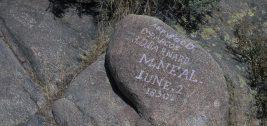 emigrant names carved on rocks