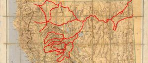 map of western United States with marked routes of California Trail