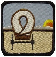 sew on square patch with OCTA logo of covered wagon and setting sun