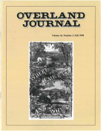 Overland Journal Volume 16 Number 3 Fall 1998
