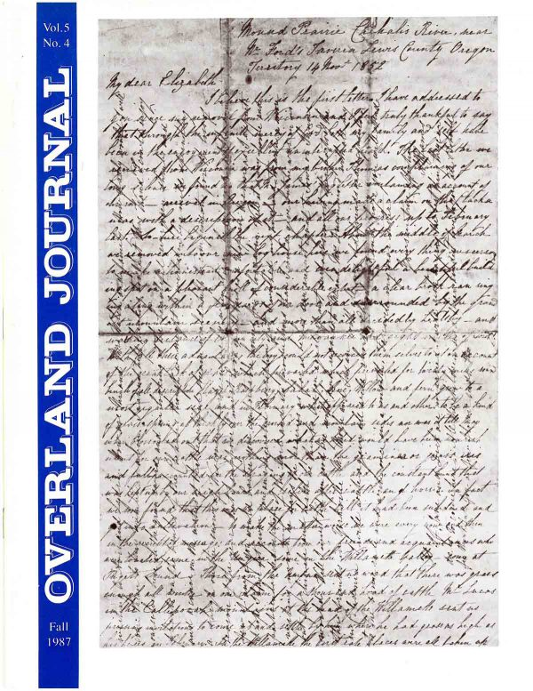 Overland Journal Volume 5 Number 4 Fall 1987