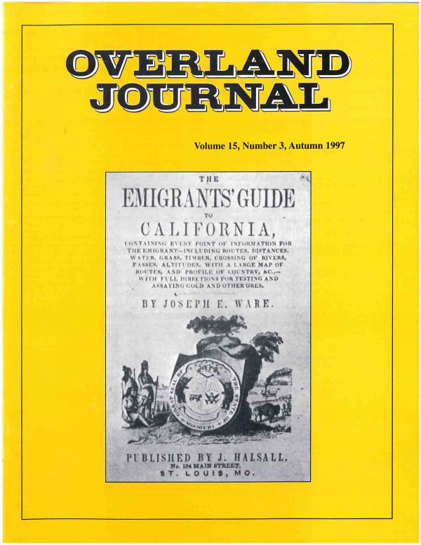 Overland Journal Volume 15 Number 3 Fall 1997