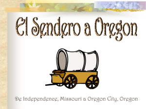 drawing of emigrant covered wagon and Spanish text El Sendero a Oregon