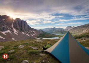 Tent overlooking mountain valley
