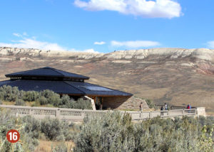 Black roofed visitor center in mountains